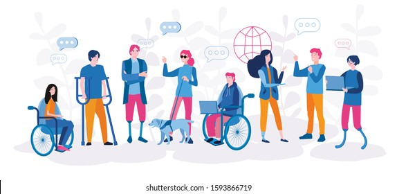Disabled people work together in the office, world disability day, handicapped persons. Vector illustration for web banner, infographics, mobile
