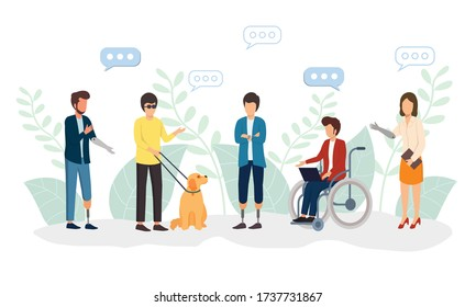 Disabled people work together in the office, world disability day, handicapped persons. Vector illustration for web banner, infographics, mobile.