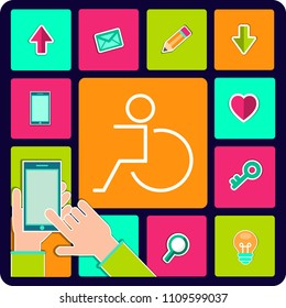 Disabled person, handicap icon. Wheelchair symbol, isolated vector illustration.