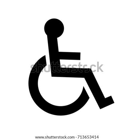 Disabled Person Handicap Icon Wheelchair Symbol Stock Vector