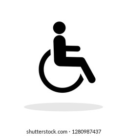 Disabled person / Handicapped person icon in flat style. Wheelchair symbol for your web site design, logo, app, UI Vector EPS 10.
