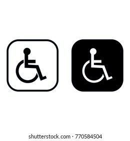 Disabled person icon set