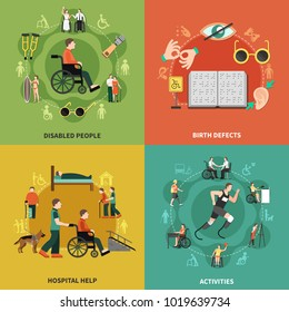 Disabled person icon set with disabled people birth defects hospital help and activities descriptions vector illustration