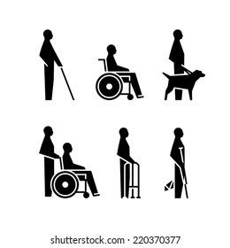 Disabled person icons