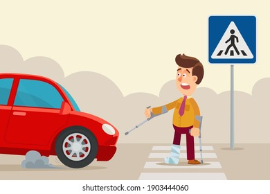 A disabled person on crutches crossing the road on crosswalk, the car emergency braked. Vector illustration, flat design, cartoon style, isolated background.