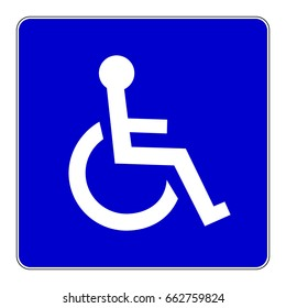 Disabled person sign. Blue sign with handicap symbol, vector illustration.