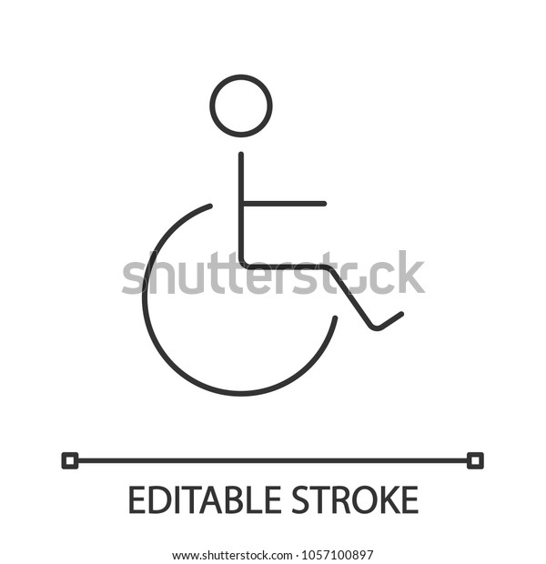 Disabled Person Wheelchair Linear Icon Thin Stock Vector