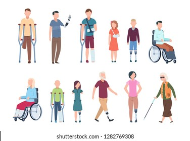 Disabled persons. Diverse injured people in wheelchair, elderly, adult and children patients. Handicapped characters vector set