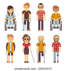 Disabled persons vector flat icons. Disabled in wheelchair, disability character young illustration.