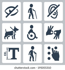 Disabled related vector icons set