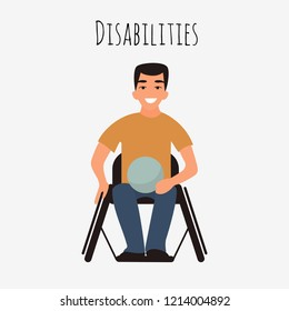 Disabled rugby player in a wheelchair. Caucasian young handicapped player man. Athlete with physical disorder. Flat cartoon character. Vector illustration