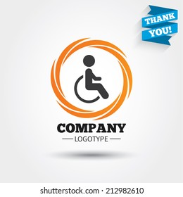 Disabled sign icon. Human on wheelchair symbol. Handicapped invalid sign. Business abstract circle logo. Logotype with Thank you ribbon. Vector