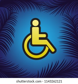 Disabled sign illustration. Vector. Golden icon with black contour at blue background with branches of palm trees.