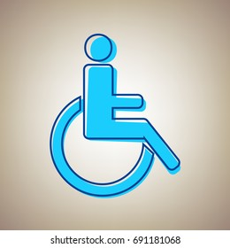 Disabled sign illustration. Vector. Sky blue icon with defected blue contour on beige background.