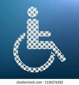 Disabled sign illustration. Vector. White textured icon at lapis lazuli gradient background.