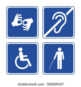 Disabled signs: deaf, blind, mute and wheelchair vector icons