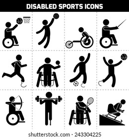 Disabled sports black pictogram invalid people icons set isolated vector illustration