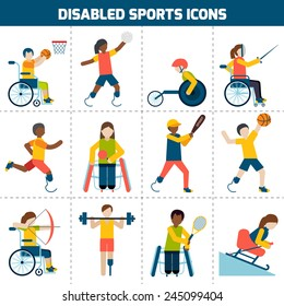 Disabled sports design concept with handicapped people playing football fencing cycling icons set isolated vector illustration