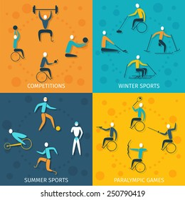 Disabled sports design concept set with winter and summer competition paralympic games flat icons isolated vector illustration