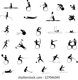 disabled sports set isolated on white background