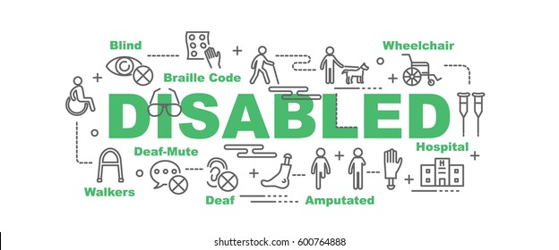 disabled vector banner design concept, flat style with thin line art icons on white background