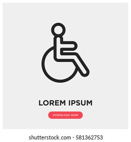 Disabled vector icon, wheelchair symbol. Modern, simple flat vector illustration for web site or mobile app