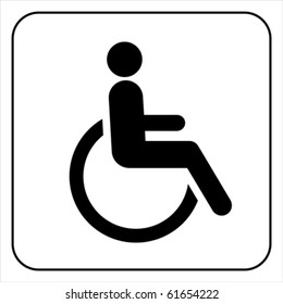 Disabled wheelchair icon. Disable symbol logo, isolated on white, vector