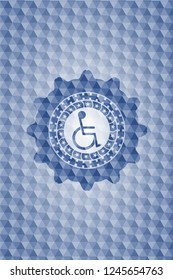 disabled (wheelchair) icon inside blue emblem or badge with geometric pattern background.