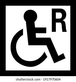 Disabled wheelchair sign board black and white
