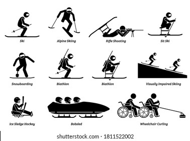 Disabled winter sports and games for handicapped athlete stick figures icons. Vector symbols of skiing, snowboarding, biathlon, ice sledge hockey, and wheelchair curling for physical disabilities.