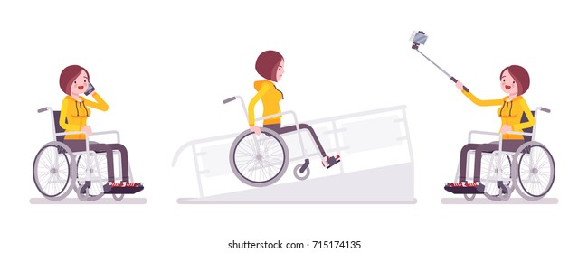 Disabled woman in wheelchair with phone, selfie camera, on ramp. Frustrations and fun. Physical disability and society. Vector flat style cartoon illustration, isolated, white background