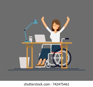 Disabled young woman in wheelchair working with computer in office. appy woman. Physical disability and society. Vector flat style cartoon illustration