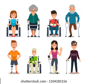Disablement person. Smile young blind disability people and elderly on crutches or wheelchair. Disabled man and woman patient handicapped character for medical isolated on white vector background flat