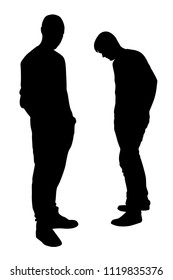 Disagree between two friends silhouette