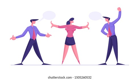 Disagreement Arguing Men Prepare to Fight. Businesswoman Trying to Stop Fighting Businessmen. Business Competition for Leadership, Challenge Different Point of View. Cartoon Flat Vector Illustration