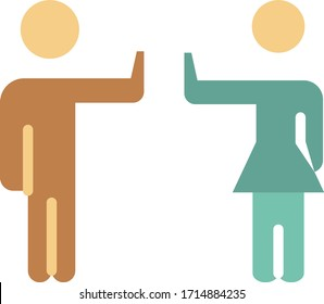 disallow physical touch vector color icon, keep away from each other concept, Avoid contact design, self isolation on white background, Social distance Vector Symbol,