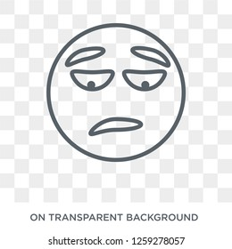 Disappointed emoji icon. Disappointed emoji design concept from Emoji collection. Simple element vector illustration on transparent background.