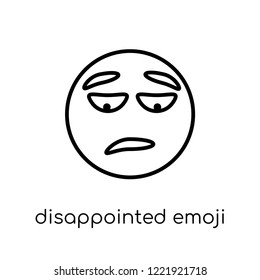 disappointed emoji icon. Trendy modern flat linear vector disappointed emoji icon on white background from thin line Emoji collection, outline vector illustration