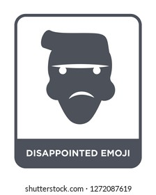 disappointed emoji icon vector on white background, disappointed emoji trendy filled icons from Emoji collection, disappointed emoji simple element illustration