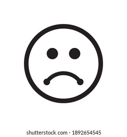 Disappointed Expression Icon Vector. Sad Face Symbol Illustration