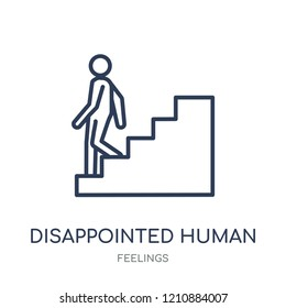 disappointed human icon. disappointed human linear symbol design from Feelings collection. Simple outline element vector illustration on white background.