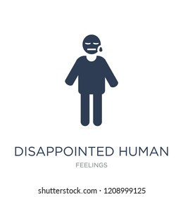 disappointed human icon. Trendy flat vector disappointed human icon on white background from Feelings collection, vector illustration can be use for web and mobile, eps10