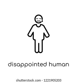 disappointed human icon. Trendy modern flat linear vector disappointed human icon on white background from thin line Feelings collection, editable outline stroke vector illustration
