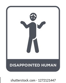 disappointed human icon vector on white background, disappointed human trendy filled icons from Feelings collection, disappointed human simple element illustration