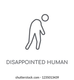 disappointed human linear icon. Modern outline disappointed human logo concept on white background from Feelings collection. Suitable for use on web apps, mobile apps and print media.