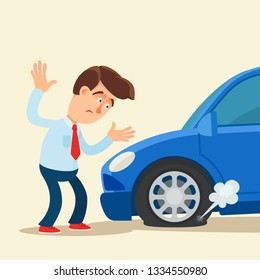 Disappointed man standing near the car with punctured tyre. Vector illustration, flat cartoon style. Isolated background.