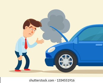 Disappointed man standing near the car with a broken engine. Vector illustration, flat cartoon style. Isolated background.