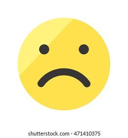Disappointed smiley vector icon. Sad emoji.