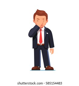 Disappointed and tired businessman covering his eyes with hand showing facepalm gesture. Office worker or manager feeling stress, shame & having a headache. Flat style modern vector illustration.