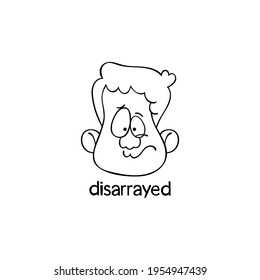Disarrayed. Emotion. Human face. Cartoon character. Isolated vector object on white background.